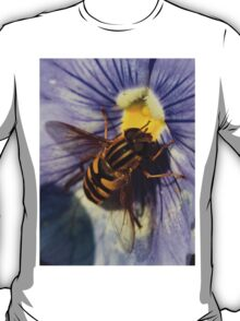 Hover Fly enjoying the Pansies T-Shirt