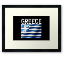 Greece - Greek Flag & Text - Metallic Framed Print