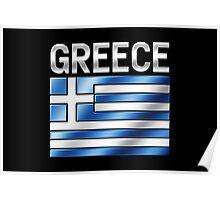 Greece - Greek Flag & Text - Metallic Poster