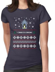 LINUX IS COMING - CHRISTMAS SWEATER Womens Fitted T-Shirt
