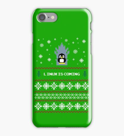 LINUX IS COMING - CHRISTMAS SWEATER iPhone Case/Skin