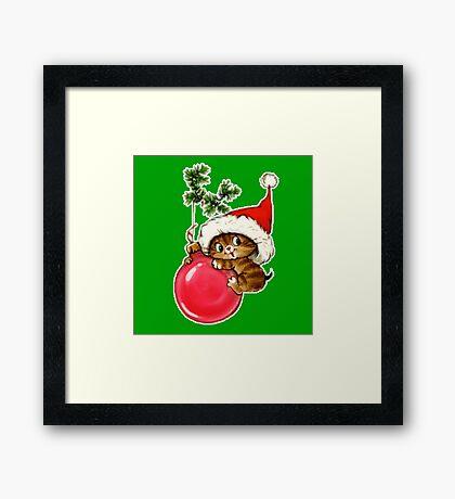 Cute Christmas Kitten  Framed Print