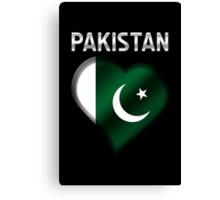 Pakistan - Pakistani Flag Heart & Text - Metallic Canvas Print