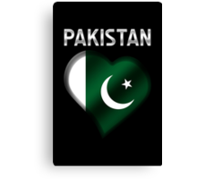 Pakistan - Pakistani Flag Heart & Text - Metallic Canvas Print
