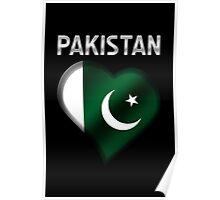 Pakistan - Pakistani Flag Heart & Text - Metallic Poster