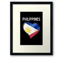 Philippines - Filipine Flag Heart & Text - Metallic Framed Print