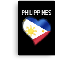 Philippines - Filipine Flag Heart & Text - Metallic Canvas Print