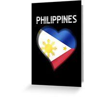 Philippines - Filipine Flag Heart & Text - Metallic Greeting Card