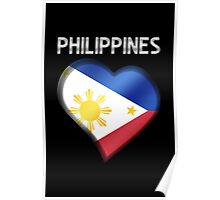 Philippines - Filipine Flag Heart & Text - Metallic Poster