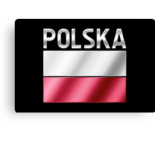 Polska - Polish Flag & Text - Metallic Canvas Print