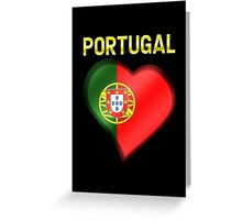 Portugal - Portuguese Flag Heart & Text - Metallic Greeting Card