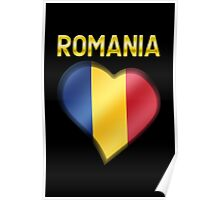 Romania - Romanian Flag Heart & Text - Metallic Poster
