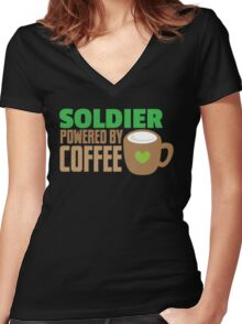 Soldier powered by coffee Women's Fitted V-Neck T-Shirt