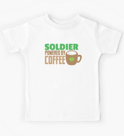 Soldier powered by coffee Kids Tee