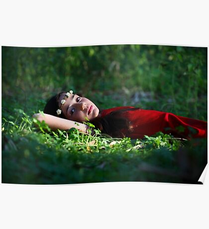 Young girl of 12 with red dress and a wreath, relaxing outdoors  Poster