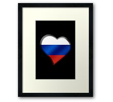 Russian Flag - Russia - Heart Framed Print