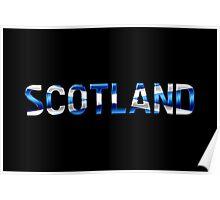 Scotland - Scottish Flag - Metallic Text Poster