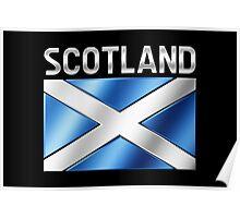 Scotland - Scottish Flag & Text - Metallic Poster