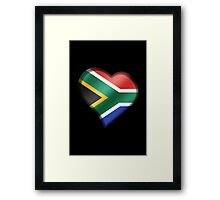 South African Flag - South Africa - Heart Framed Print