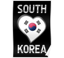 South Korea - South Korean Flag Heart & Text - Metallic Poster