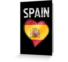 Spain - Spanish Flag Heart & Text - Metallic Greeting Card