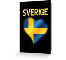 Sverige - Swedish Flag Heart & Text - Metallic Greeting Card