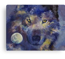 Grey Wolf Moon Canvas Print