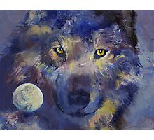 Grey Wolf Moon Photographic Print