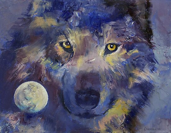Grey Wolf Moon by Michael Creese