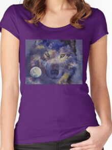 Grey Wolf Moon Women's Fitted Scoop T-Shirt