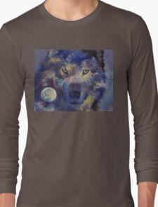 Grey Wolf Moon Long Sleeve T-Shirt