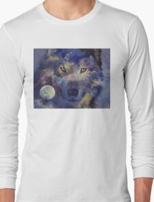 Grey Wolf Moon Long Sleeve T-Shirt