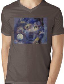 Grey Wolf Moon Mens V-Neck T-Shirt
