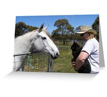 'Lace' blew on Butch. Grey Mare, Manx Cat. 'Truro' rural. Greeting Card
