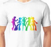 Vintage Retro 1970s Rainbow Disco Dancers Graphic Unisex T-Shirt