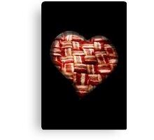 Bacon - Heart - Woven Strips Canvas Print