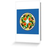 Oranges & Lemons - blue Greeting Card