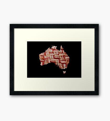 Australia - Australian Bacon Map - Woven Strips Framed Print