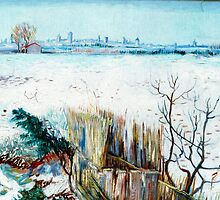 Snowy Landscape with Arles in the Background by Vincent van Gogh.  by naturematters