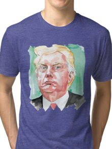 Donald Trump cartoon toon drawing funny crazy election Tri-blend T-Shirt