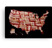 USA - American Bacon Map - Woven Strips Canvas Print