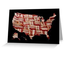 USA - American Bacon Map - Woven Strips Greeting Card