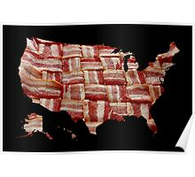 USA - American Bacon Map - Woven Strips Poster
