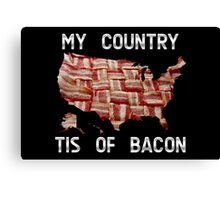 My Country Tis Of Bacon - USA - American Bacon Map Canvas Print