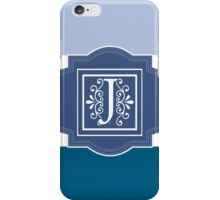 Stripes Shades of Blue Monogrammed Design iPhone Case/Skin