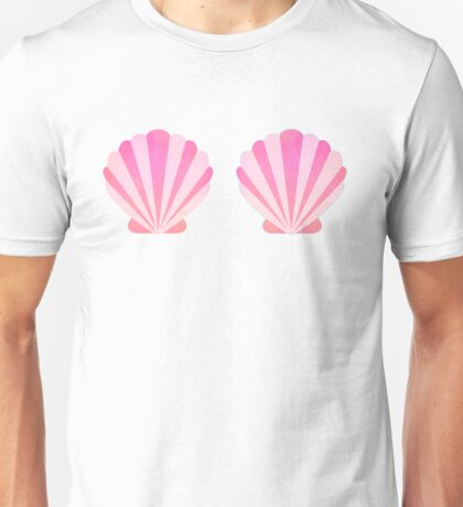 Mermaid Seashell Bra Cute Pink Shells Unisex T-Shirt