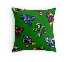 Megaman Soccer / pattern / 8 characters / green field Throw Pillow