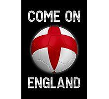 Come On England - English Flag - Football or Soccer Ball & Text 2 Photographic Print