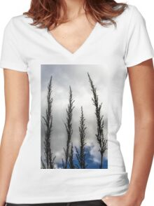 Native grass flowers Women's Fitted V-Neck T-Shirt