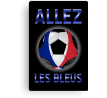 Allez Les Bleus - French Football & Text - Metallic Canvas Print